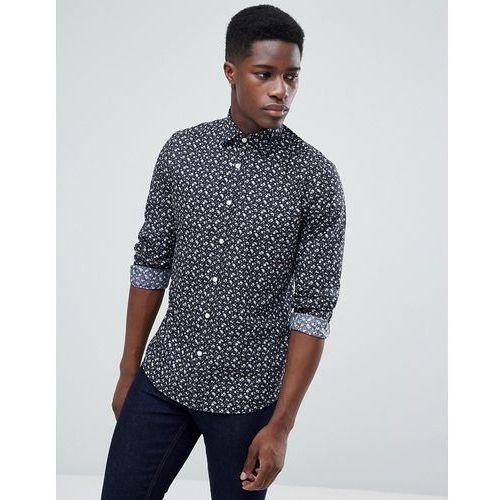 Esprit Slim Fit Smart Shirt In Floral Print - Grey, w 5 rozmiarach