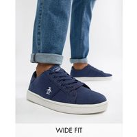 Original penguin wide fit stedaman canvas trainers in navy - blue