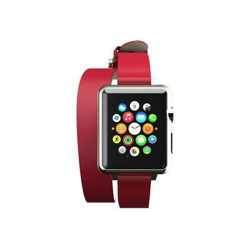 reese double wrap - skórzany pasek do apple watch 42mm (czerwony) marki Incipio