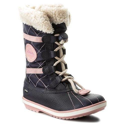 Śniegowce CLARKS - Fabyou Gtx Jnr GORE-TEX 261127346 Navy Leather, kolor niebieski