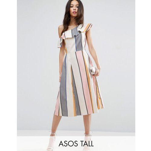 Asos tall  one shoulder ruffle detail sundress in natural fibre stripe - multi