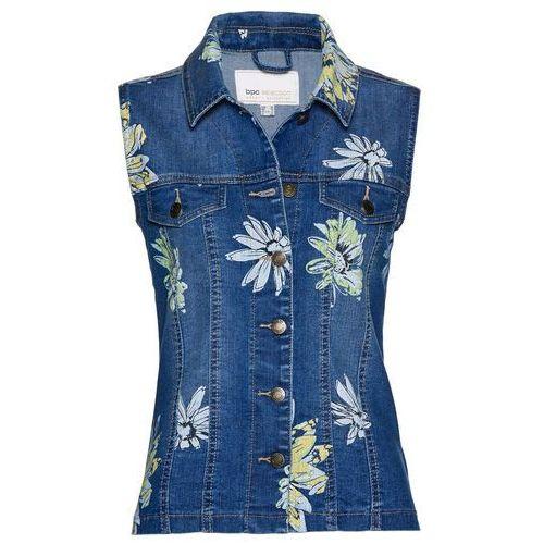 """Kamizelka dżinsowa z nadrukiem bonprix niebieski """"stone"""", jeans"""