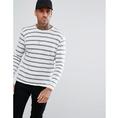 Pull&Bear Extra Fine Striped Jumper In White And Grey - White