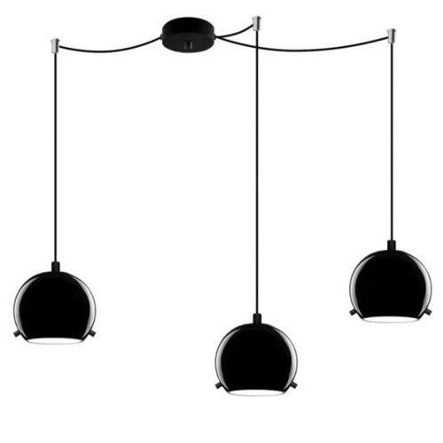 Lampa wisząca myoo 3/s/black/opal szklana oprawa nowoczesna zwis kula czarna marki Sotto luce
