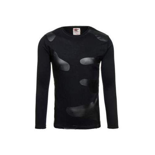 Bluza męska bez kaptura z nadrukiem czarna denley 9081 marki Breezy