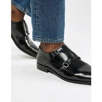 Dune monk shoes in black hi-shine leather - black