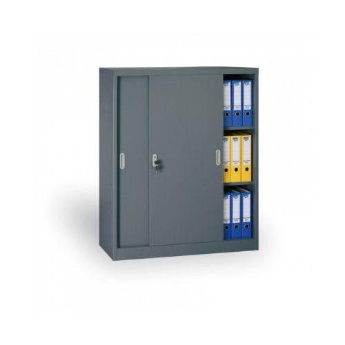 B2b partner Metalowa szafa z przesuwnymi drzwiami, 1200 x 1200 x 450 mm, ciemnoszary