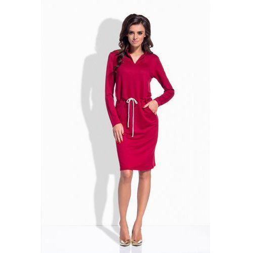1 L152 bordowa sukienka PROMO, kolor czerwony