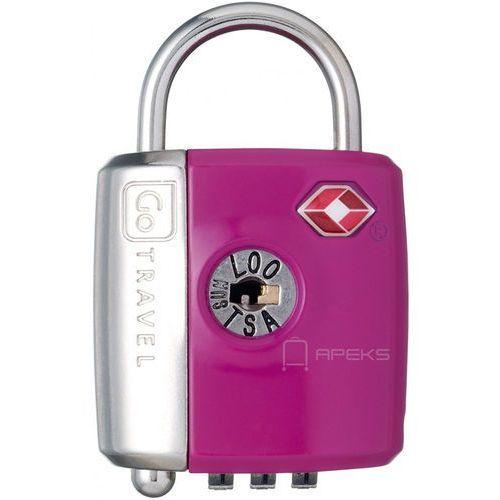 Go travel dg/337 kłódka tsa z zamkiem szyfrowym oraz kluczyk / fioletowa - fioletowy