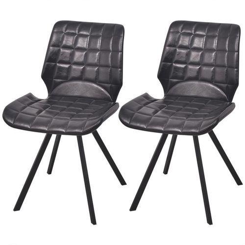 Krzesło do jadalni obite ekoskórą 2 szt, czarne, kolor czarny