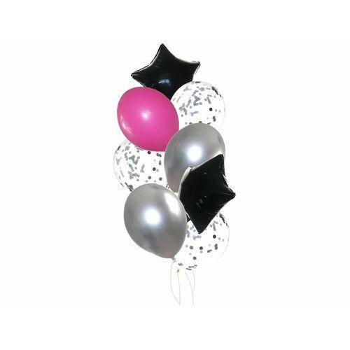Zestaw balonów z czarnymi gwiazdkami - 22 szt.