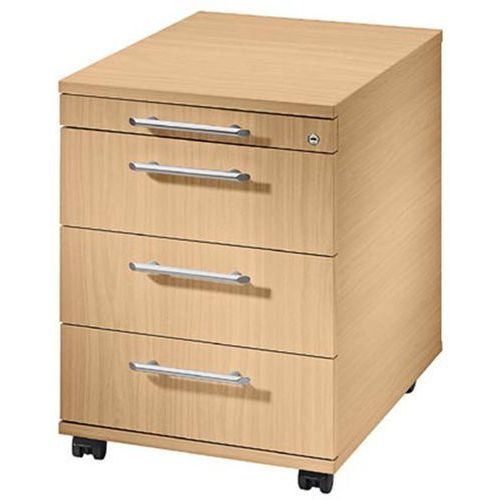 Hammerbacher Kontener na kółkach, 1 szuflada na przybory, 3 szuflady na dokumenty, buk. bardz