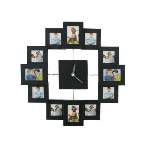 Duży (36x36cm) Stylowy Zegar Ścienny z Ramkami na 12 Zdjęć., 59025393162