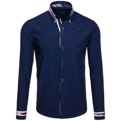 Granatowa koszula męska elegancka z długim rękawem Bolf 6961 - GRANATOWY, kolor niebieski
