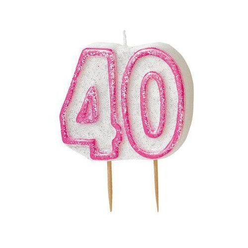 Brokatowa świeczka na 40-tke z różową obwódką - 1 szt. marki Unique