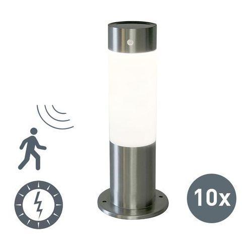Qazqa Zestaw 10 zewnętrznych lamp solarnych rox 30 stal