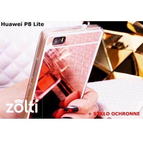 Zestaw | slim mirror case różowy + szkło ochronne perfect glass | etui dla huawei p8 lite marki Slim mirror / perfect glass