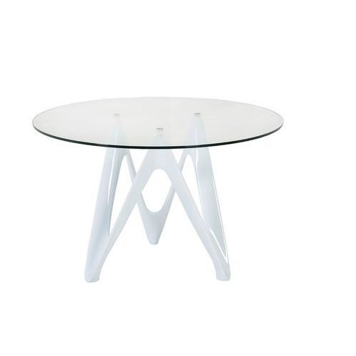King home Stół lambda - blat szklany - włókno szklane białe, szklane