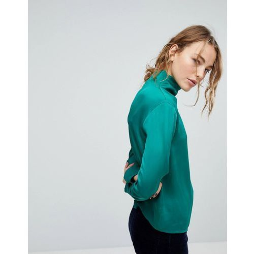 Weekday Slinky High Neck Blouse - Green