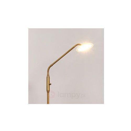 Lampenwelt Regulowana lampa stojąca led danny, mat. mosiądz, kategoria: lampy stojące