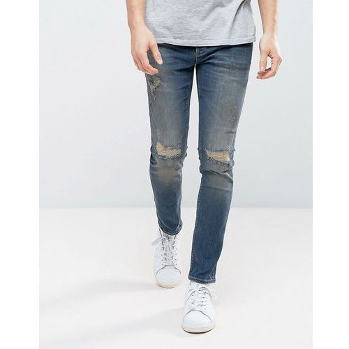 skinny jeans with rips in dark vintage wash - blue, River island