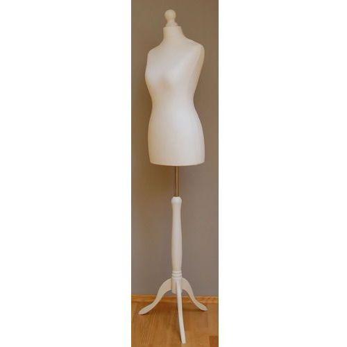 Manekin krawiecki - tors kobiecy krótki biały - rozmiar 34 na drewnianym, białym trójnogu, 01038