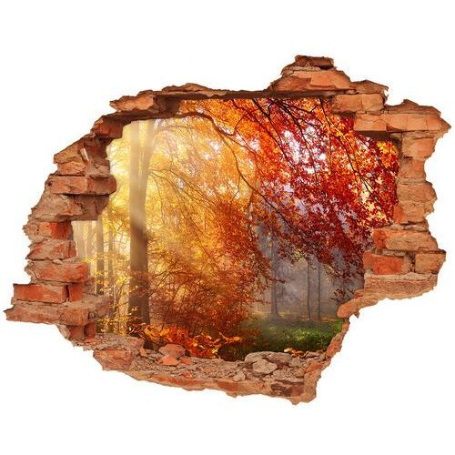 Dziura 3d w ścianie naklejka Jesienny las