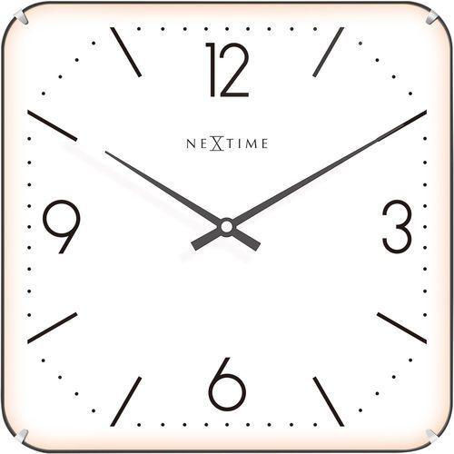 Kwadratowy zegar ścienny Basic Dome Nextime 35 x 35 cm, biały (3174) (8717713017462)