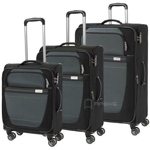 Travelite Meteor zestaw walizek / komplet / walizki na 4 kółkach / czarny - czarny (4027002054462)