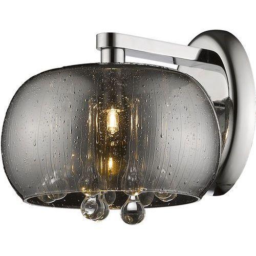 Kinkiet LAMPA ścienna RAIN W0076-01D-F4K9 Zumaline szklana OPRAWA z kryształkami KINKIET crystal deszcz krople rain przydymione, W0076-01D-F4K9