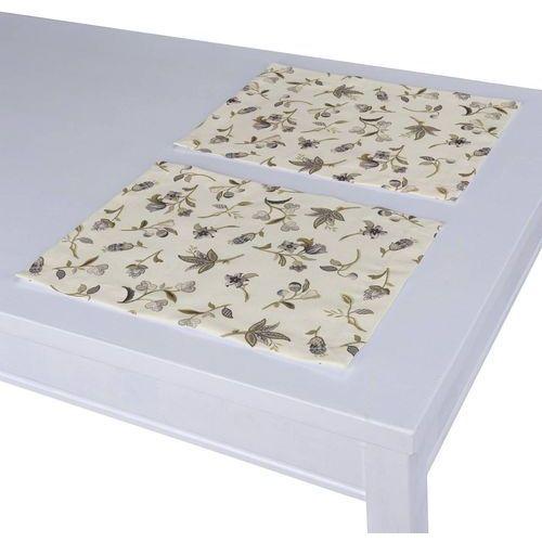 podkładka 2 sztuki, szaro-oliwkowe kwiaty na jasnym tle, 40 x 30 cm, londres marki Dekoria