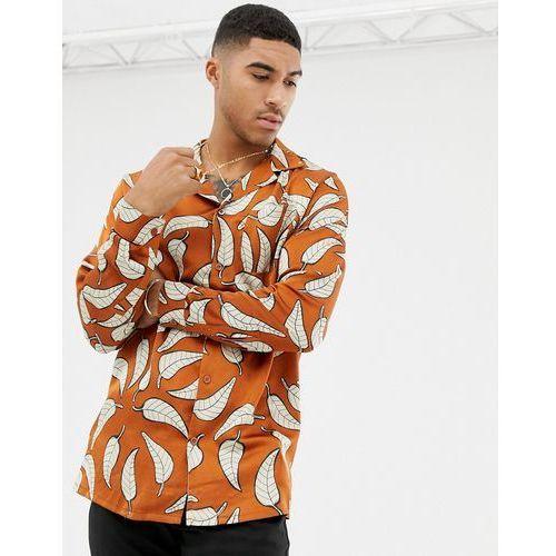boohooMAN regular fit revere collar sateen shirt with leaf print in orange - Orange, kolor pomarańczowy