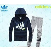 Dresy bluza granatowa ( białe/zielone logo), spodnie szare/czarne pf15093 marki Adidas