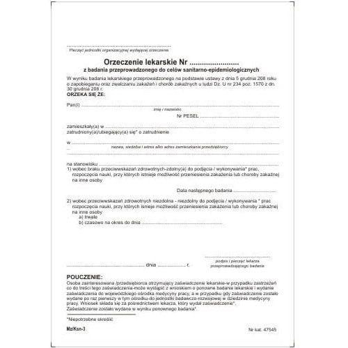 ORZECZENIE lekarskie do celów sanitarno-epidemiologicznych [Pu/Ksn-3] (5907510475456)