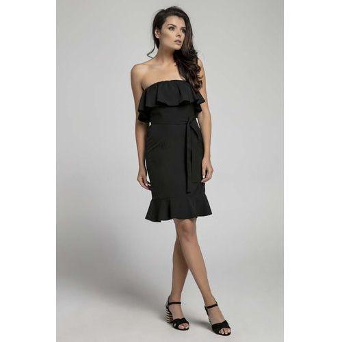 Czarna Koktajlowa Sukienka Typu Hiszpanka z Paskiem, koktajlowa