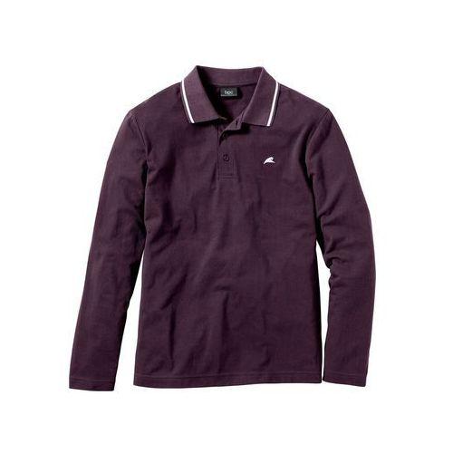 Shirt polo z długim rękawem regular fit ciemny lila marki Bonprix