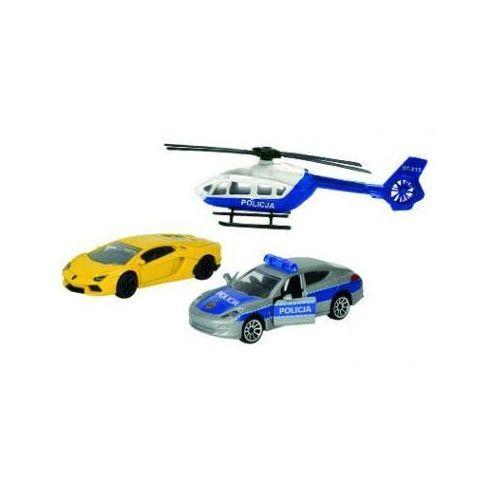 policja pojazdy pościg policyjny z niebiesko-białym helikopterem marki Majorette