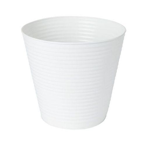 Goodhome Doniczka metalowa prążkowana 24 cm biała