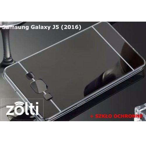 Slim mirror / perfect glass Zestaw   slim mirror case czarny + szkło ochronne perfect glass   etui dla samsung galaxy j5 (2016)