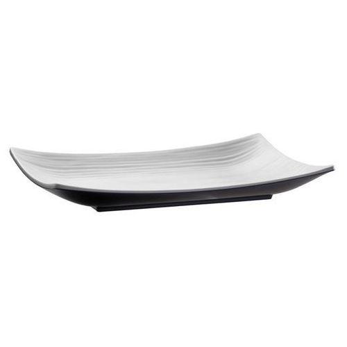 Półmisek prostokątny z melaminy 290x180x40mm   biały/czarny