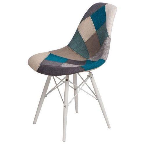 Krzesło P016W Patchwork nieb-szary/white