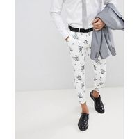 design wedding super skinny crop smart trousers in white floral print - white marki Asos