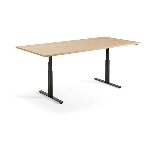 Stół konferencyjny MODULUS, 2400x1200 mm, regulacja, czarna rama, dąb