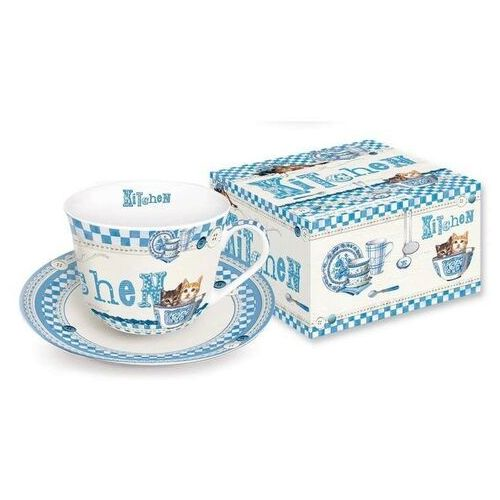 - filiżanka ś˜niadaniowa z talerzykiem z porcelany marki R2s