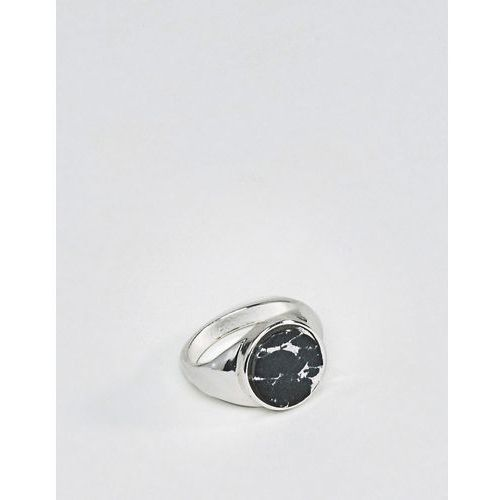 Chained & able stone signet ring in silver & black - silver