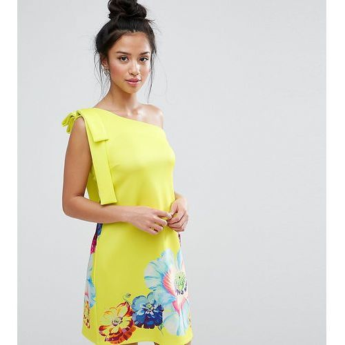 ASOS PETITE Occasion One Shoulder Mini Dress in Placement Floral Print - Green, kolor zielony