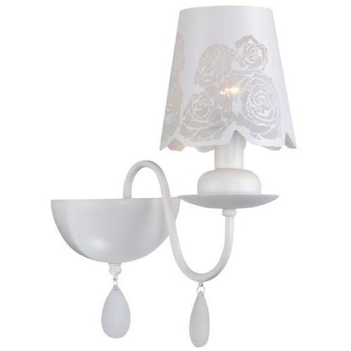 Il mio Kinkiet lampa ścienna fabrizia 310422 prowansalska oprawa z kryształkami kwiatki flowers biała