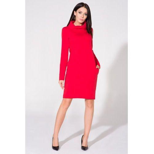Czerwona sukienka dzianinowa z kominem, Tessita, 34-46