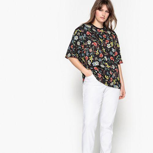 Koszulka z okrągłym wycięciem szyi z nadrukiem z kwiaty i rękawem 3/4 marki Castaluna