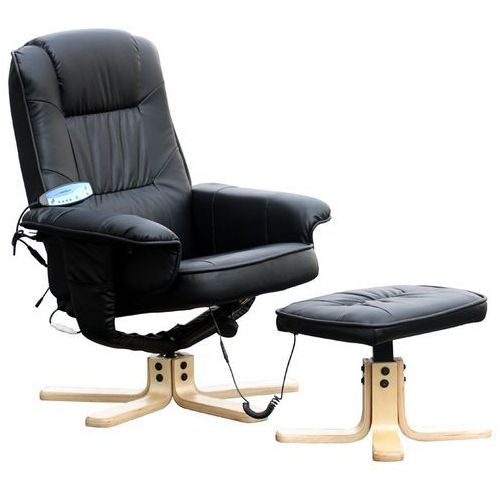 Fotel masujący wypoczynkowy z masażem + ogrzewanie - czarny marki Regoline